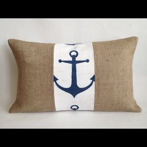 Other - Natural Burlap & Anchor Fabric Pillow 12X20 inch